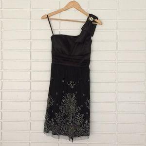 Deb Black One Shoulder Sparkly Empire-Waist Dress